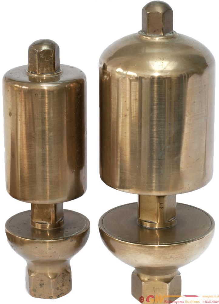 A Pair Of GWR Brass Locomotive Whistles, Large And