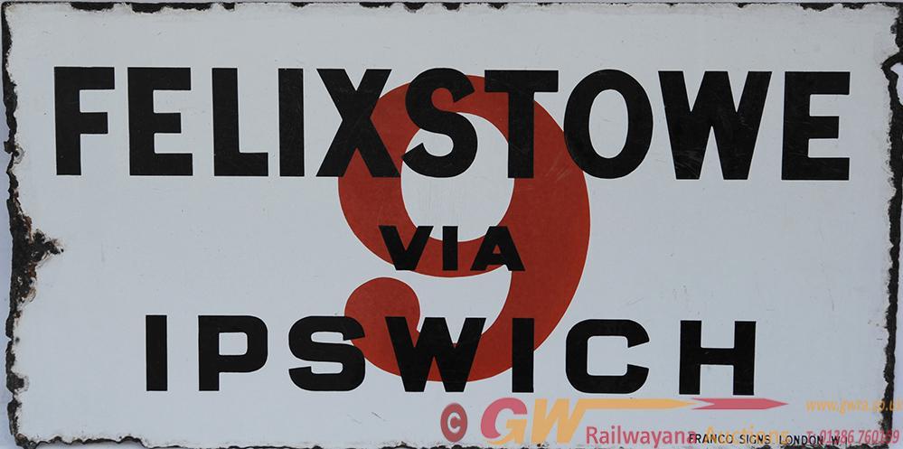 Enamel Bus Sign 'Felixstowe Via Ipswich No 9 In
