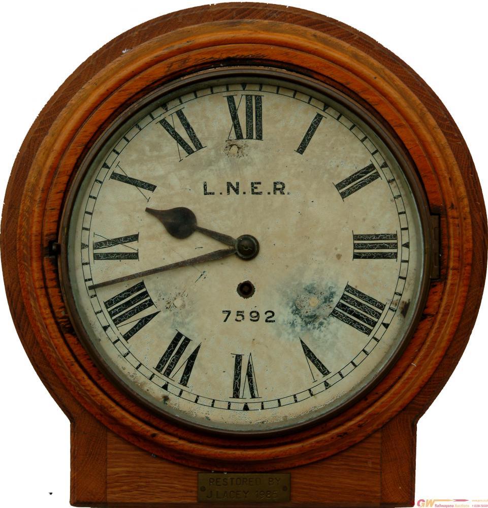 LNER 10 Inch Oak Cased Fusee Clock Number 7592,