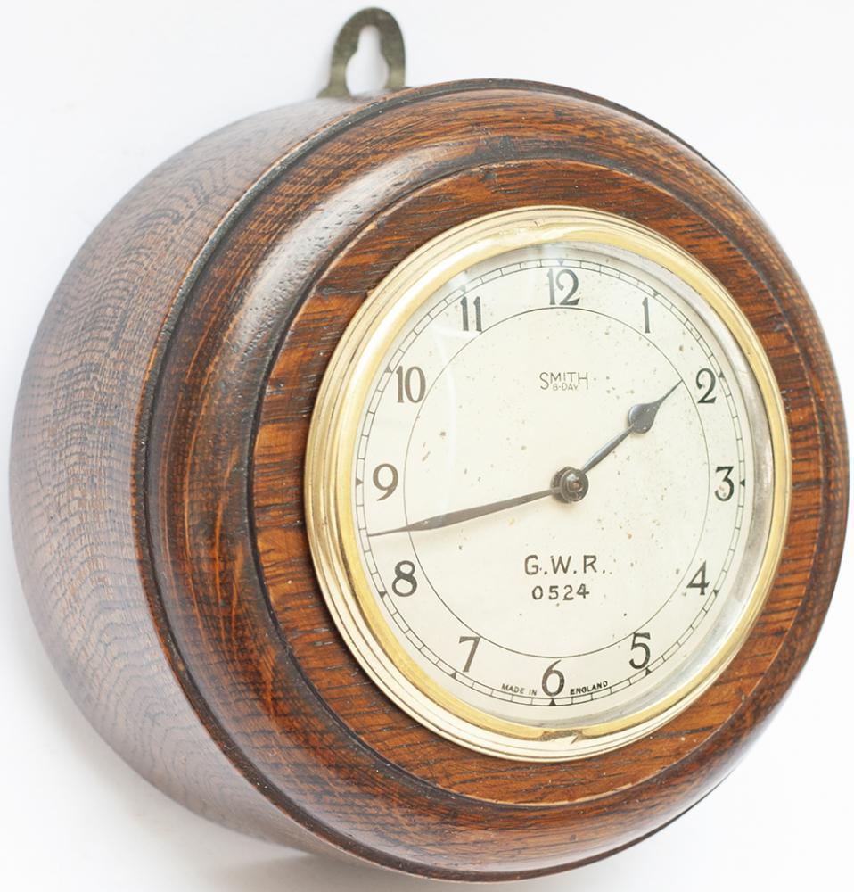 GWR Post Grouping Oak Cased Pork Pie Wall Clock