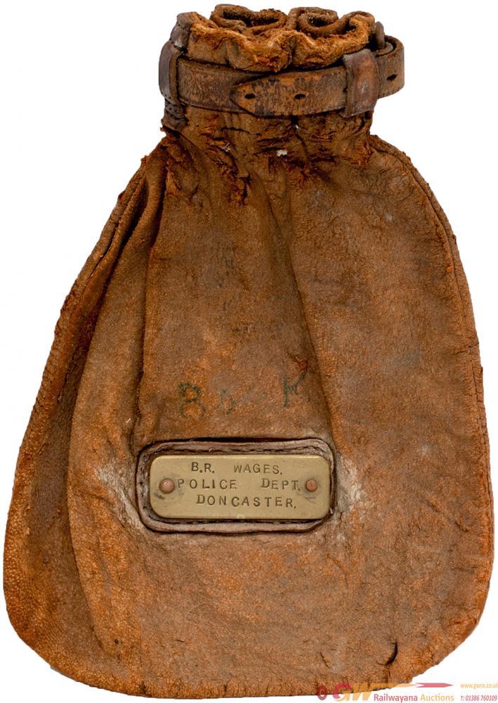Leather Cash Bag Brass Plated BR WAGES POLICE DEPT
