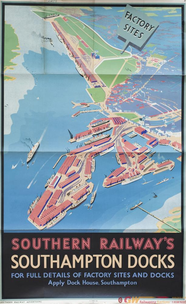 Poster SR SOUTHAMPTON DOCKS By DILLY. Double Royal