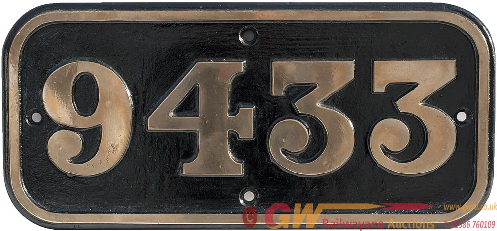 BR-W Brass Cabside Numberplate 9433 Ex Hawksworth