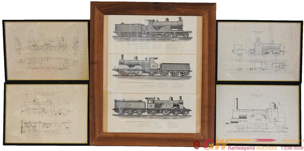 Line Drawings Of Locomotives, Qty 5 Framed And