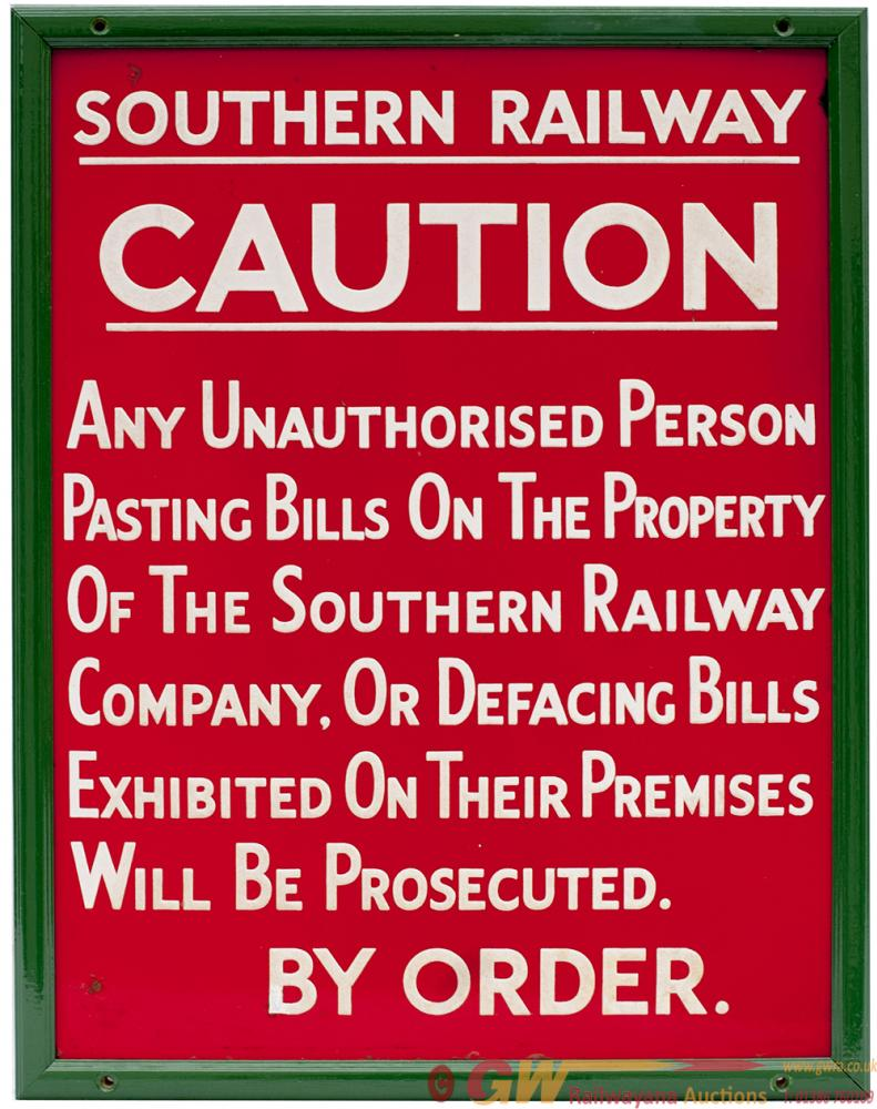 SR Enamel Sign SOUTHERN RAILWAY CAUTION ANY