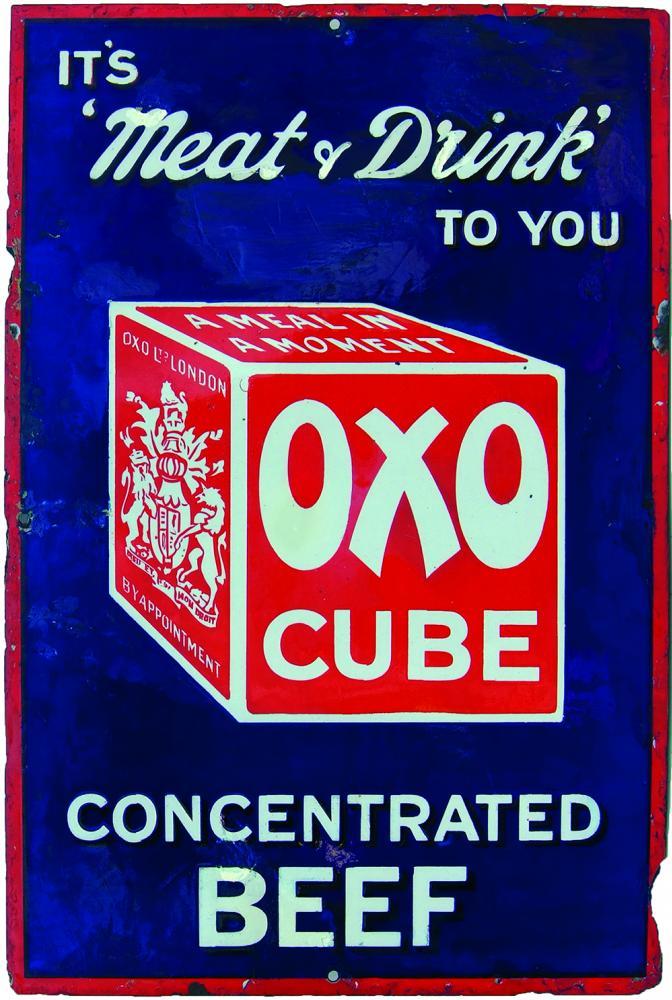 Enamel Advertising Sign 'Oxo Cube - It's Meat &