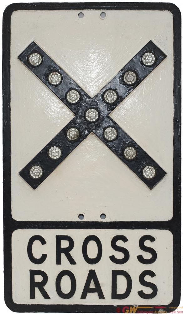 Road Sign Cast Aluminium CROSSROADS Complete With