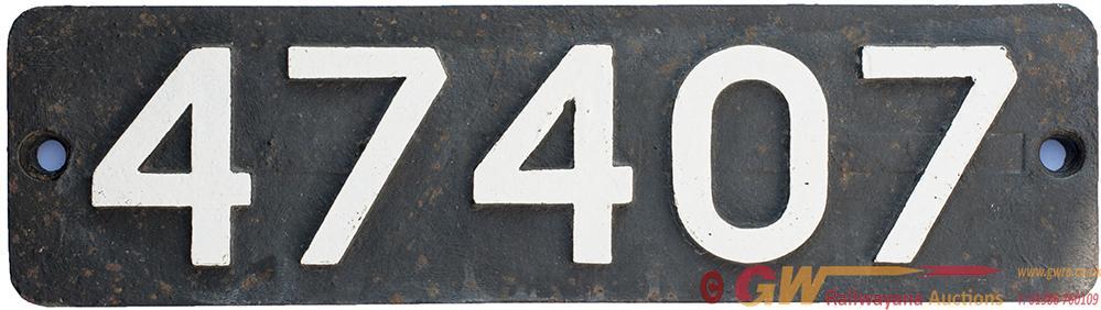 Smokebox Numberplate 47407 Ex LMS Fowler 3f 0-6-0