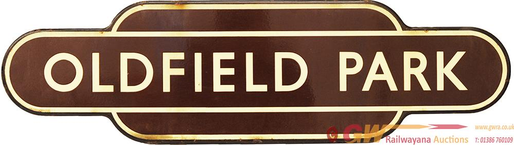 Totem BR(W) OLDFIELD PARK F/F. Ex GWR Station