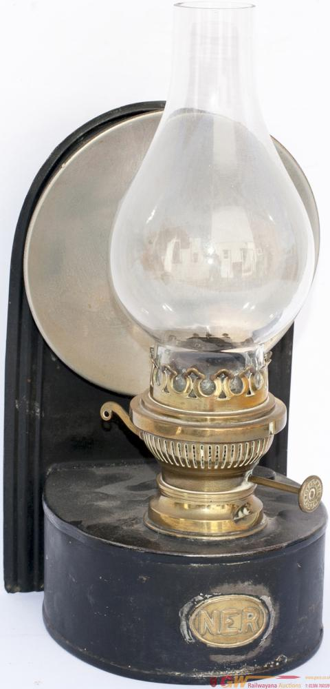 North Eastern Railway Wall Mounted Oil Lamp, Brass