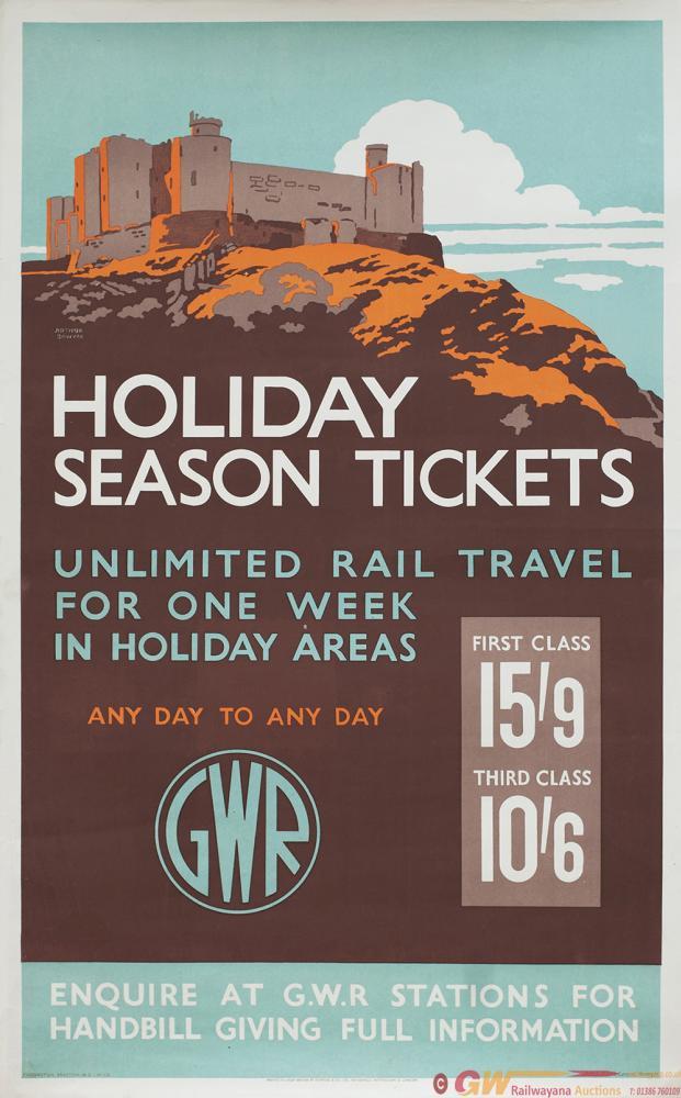 Poster GWR HOLIDAY SEASON TICKETS By Arthur Sawyer