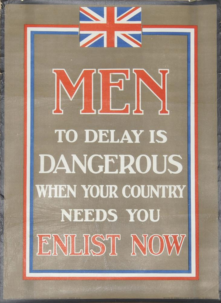 Wartime Poster, 'Men Enlist Now - To Delay Is