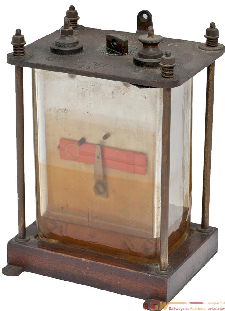 LSWR Sykes Oil Filled Glass Cased Signal Repeater.