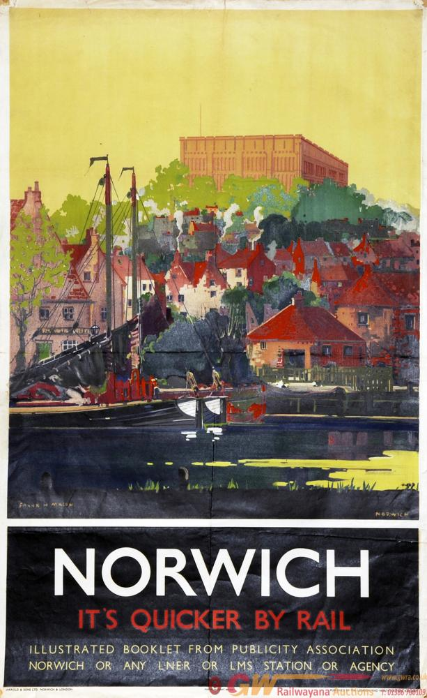 Poster LNER 'Norwich - It's Quicker By Rail' By
