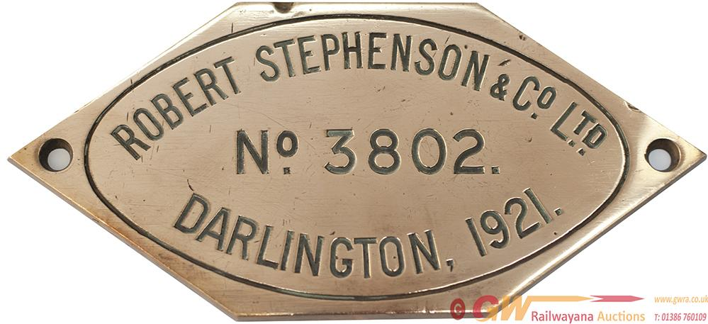 Worksplate ROBERT STEPHENSON & CO LTD DARLINGTON