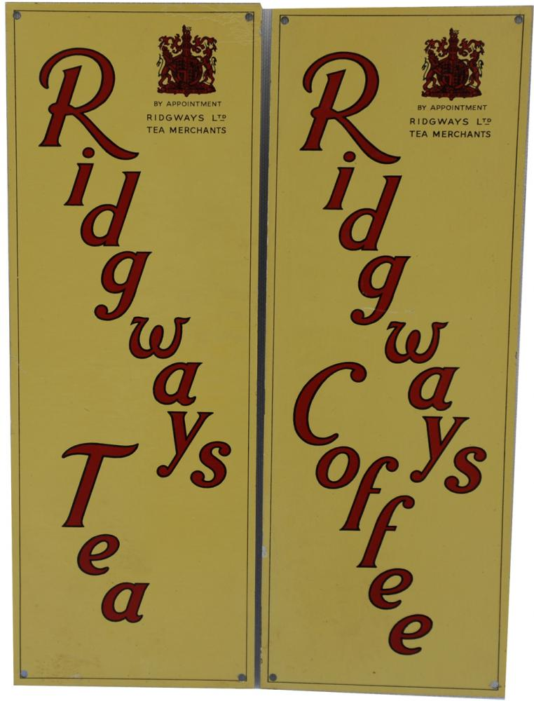 A Pair Of Screen Printed Alloy Signs Ridgways Teas