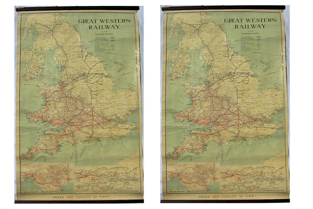 Two GWR System Rolled HANGING MAPS Both In
