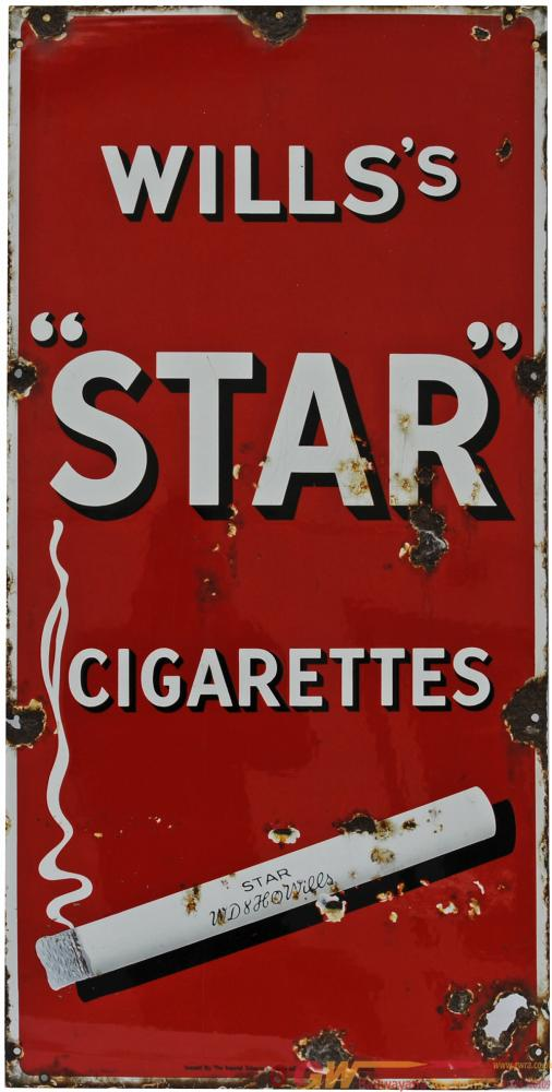 Enamel Advertising Sign 'Wills Star Cigarettes',