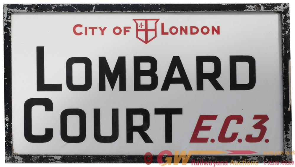 Motoring Road Street Sign CITY OF LONDON LOMBARD