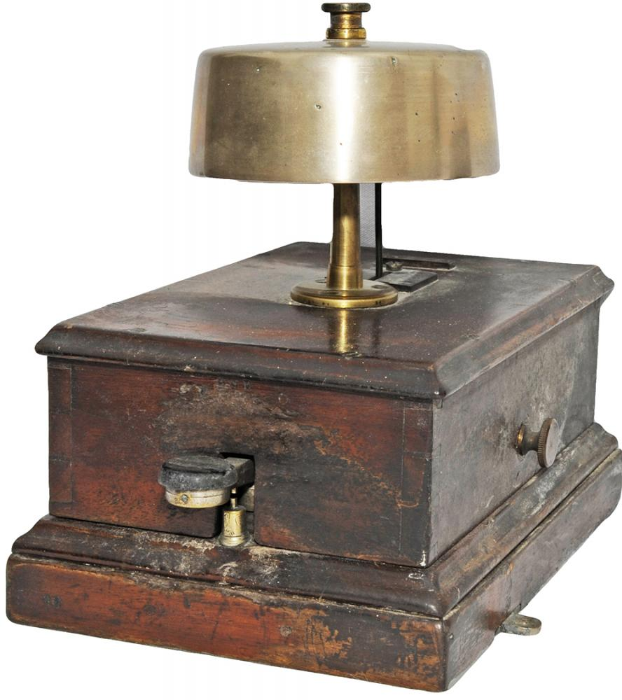 GWR Mahogany Cased Block Bell With Front Tapper,