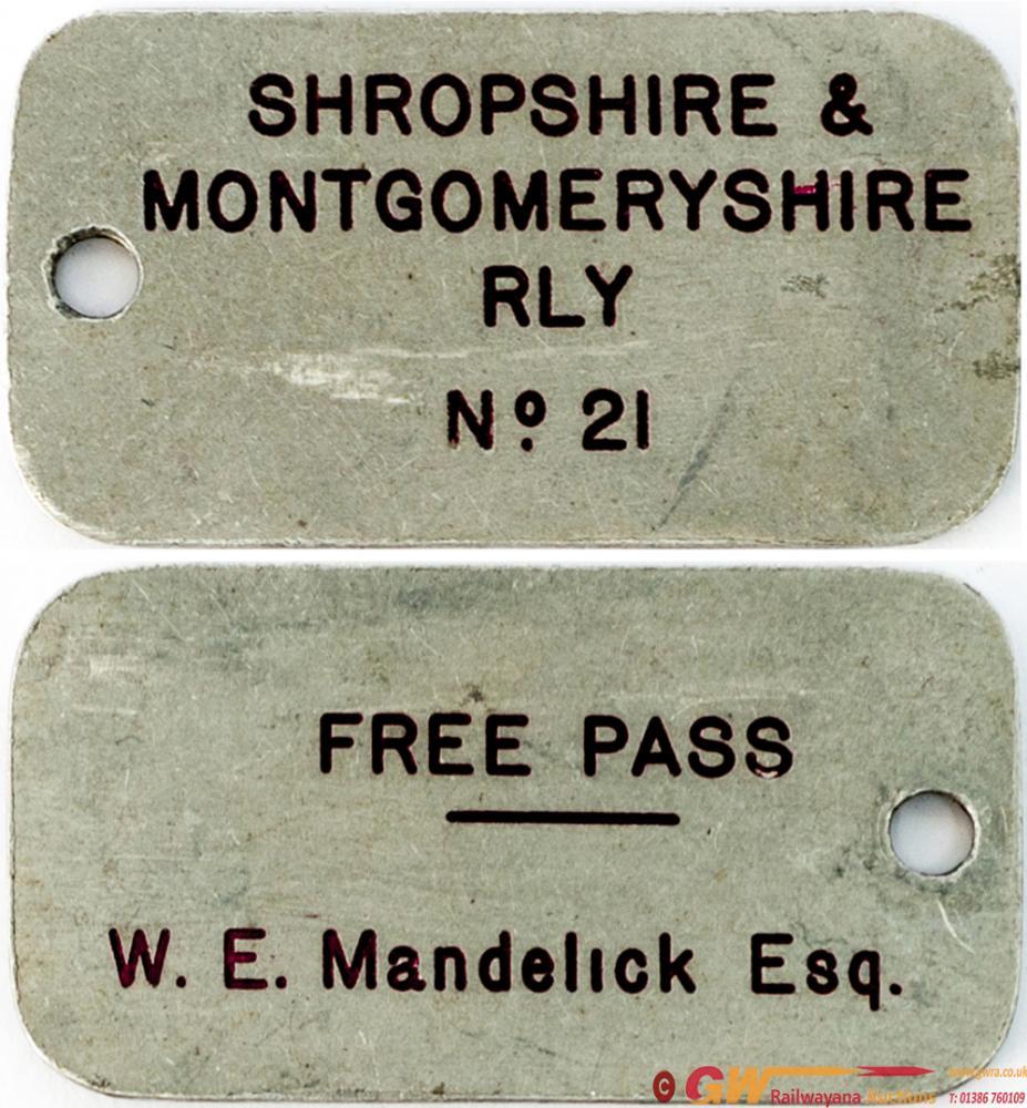 Shropshire And Montgomeryshire Railway Free Pass