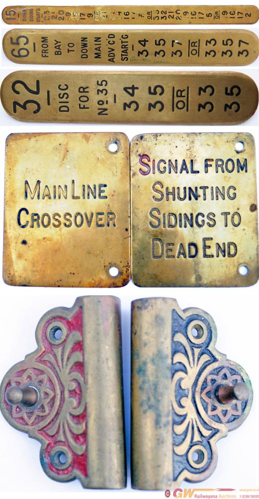 GWR Brass Signal Box Lever Plates, X 3 To Include