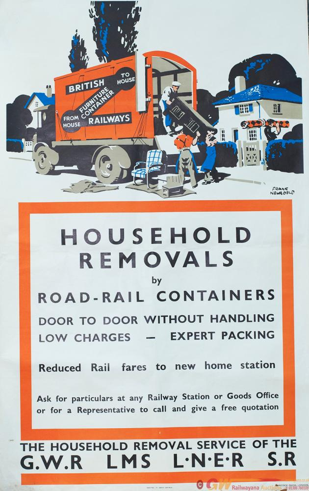 Poster GWR/LMS/LNER/SR HOUSEHOLD REMOVALS BY
