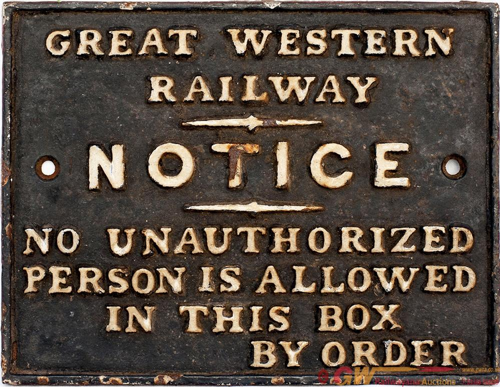 GWR Cast Iron Signal Box Door Notice GREAT WESTERN