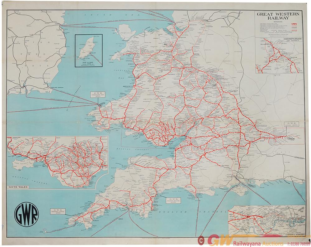 GWR Poster 'Map Of The System' Circa 1930's With