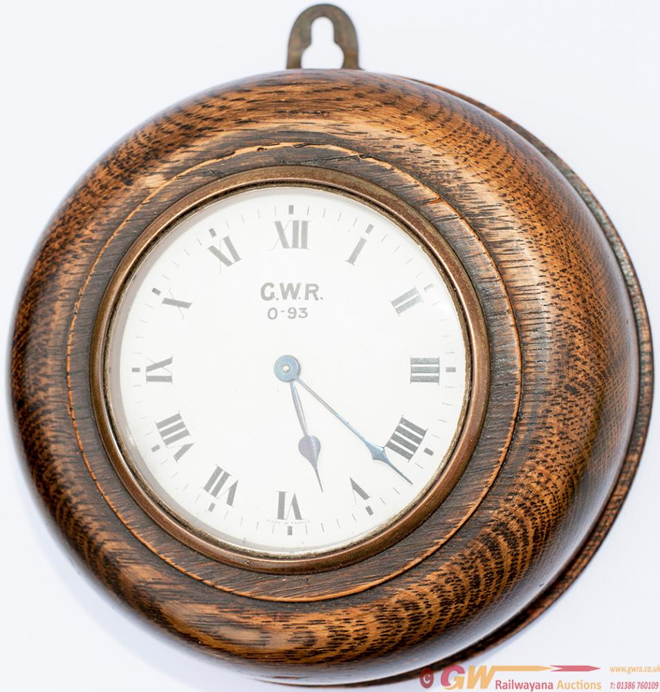 GWR Oak Cased PORK PIE Signal Box Clock. The
