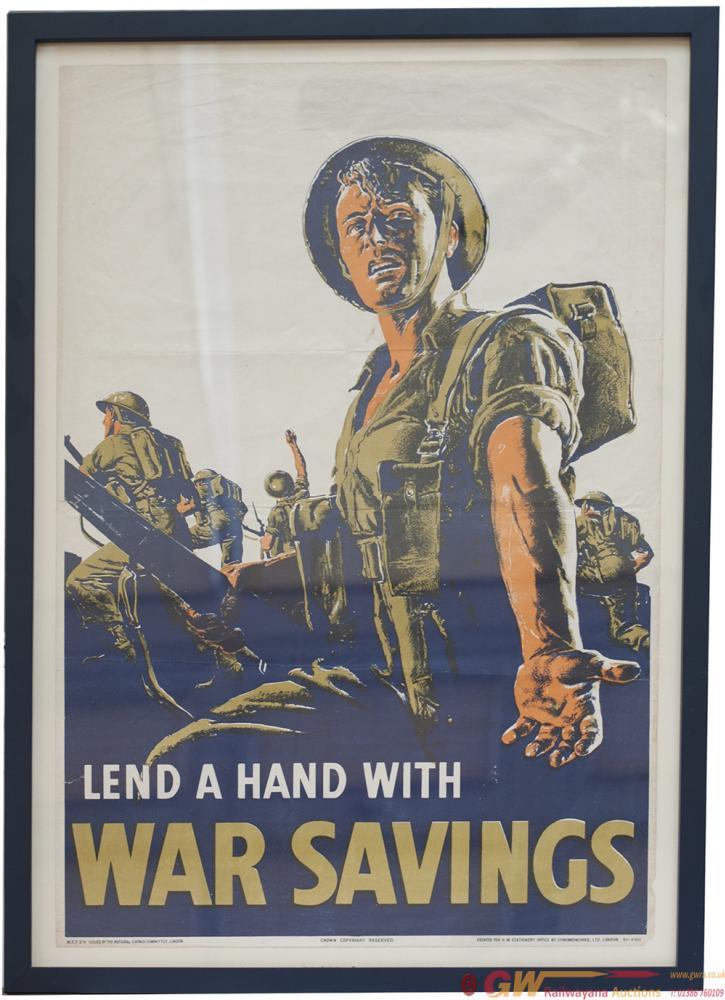 Poster World War 2 LEND A HAND WITH WAR SAVINGS.