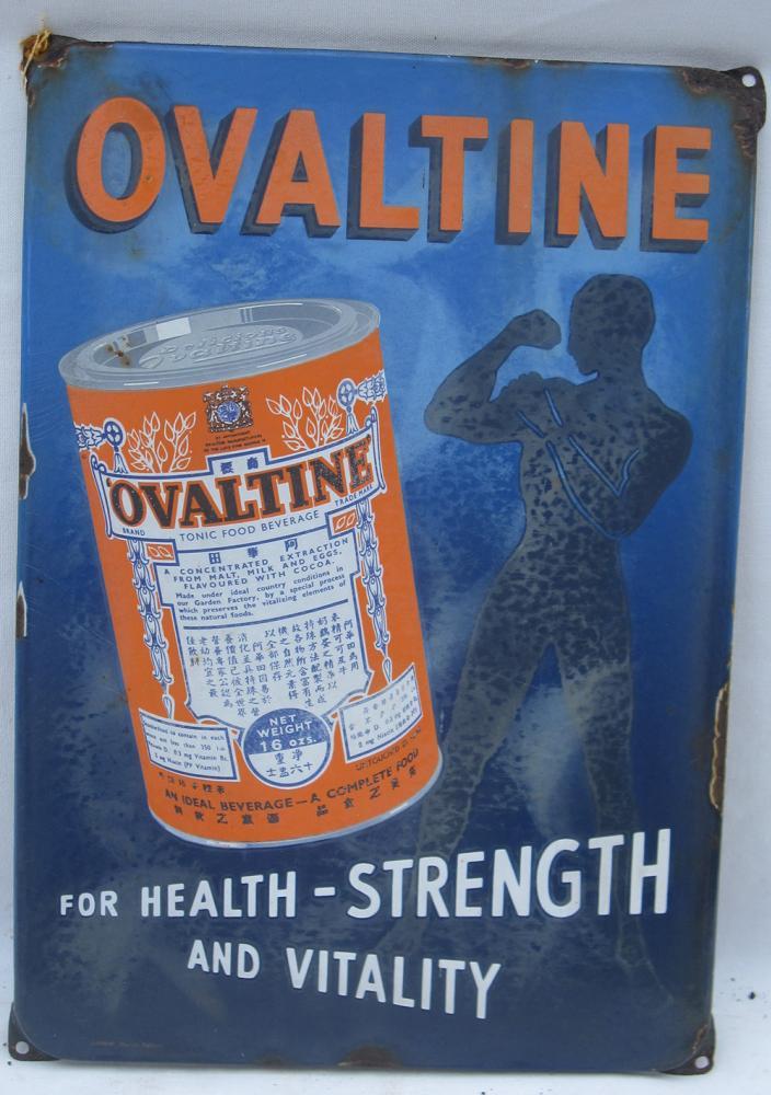 Enamel Ovaltine Advertising Sign. Good Condition.