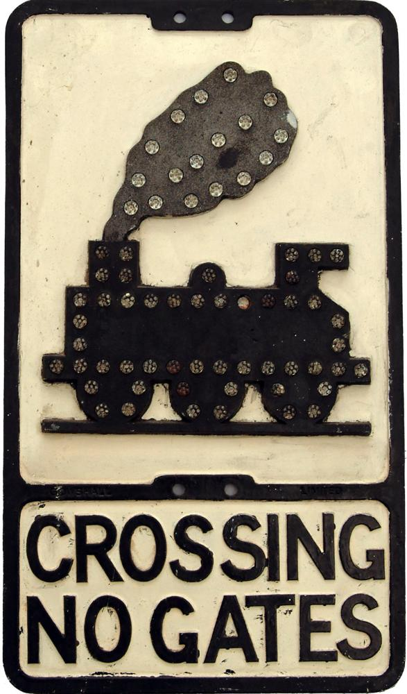 Road Sign 'Crossing No Gates' Depicting An 0-6-0
