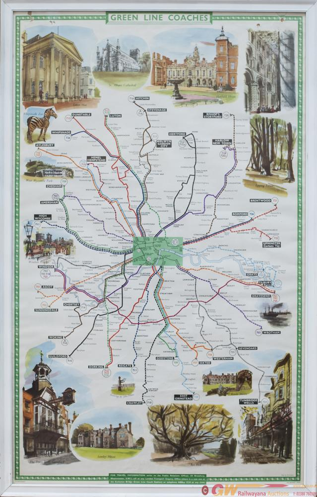 Poster GREEN LINE COACHES ROUTE MAP POSTER. Double