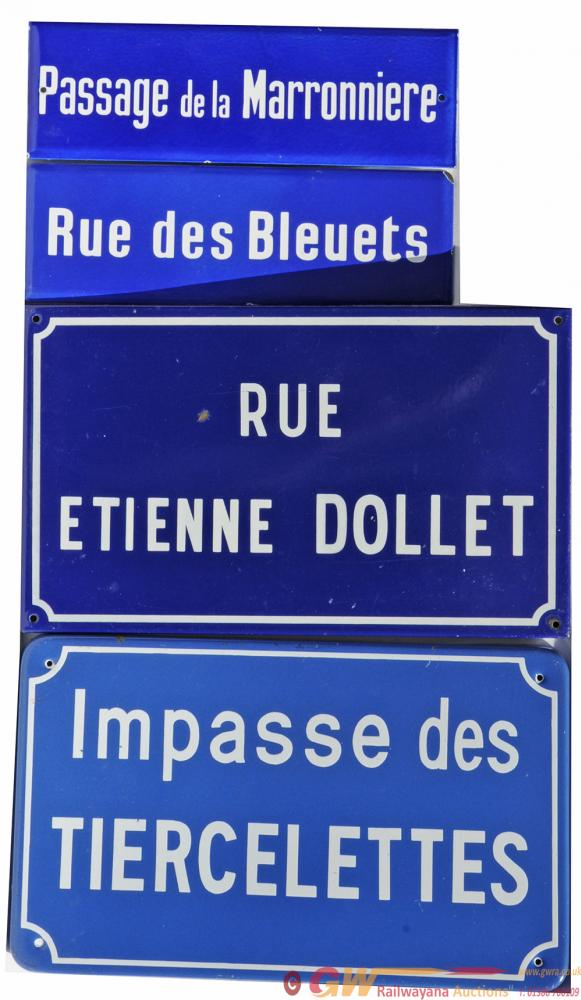 French Enamel Street Signs, Qty 4 Comprising:- Rue