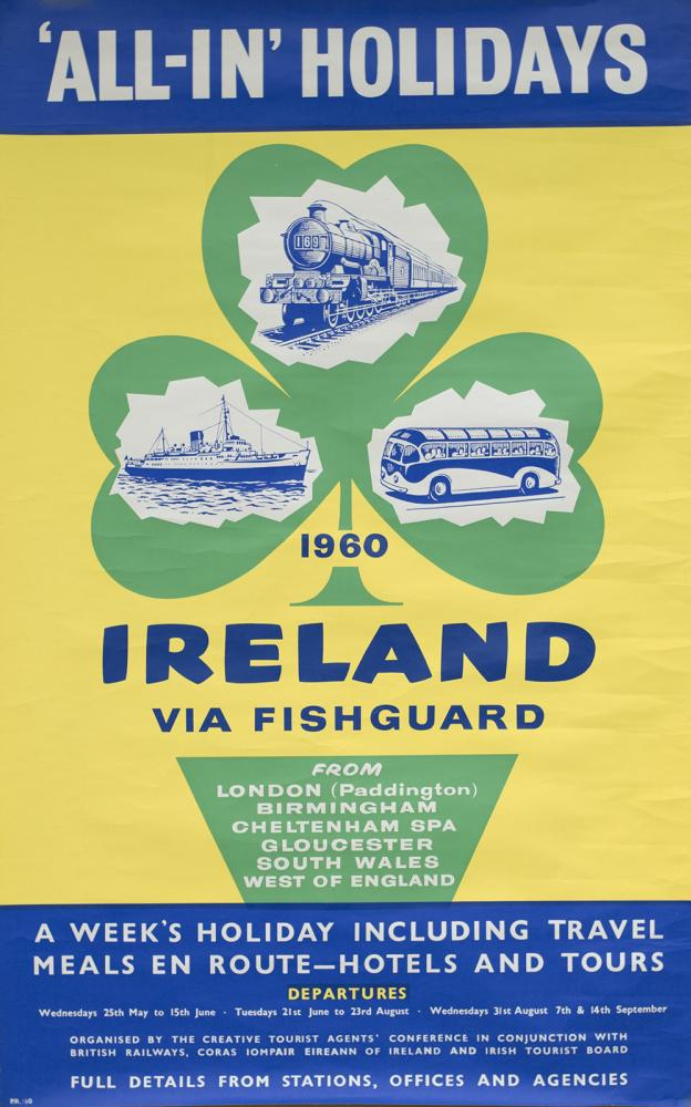 Poster BR(W) IRELAND VIA FISHGUARD 1960 ALL IN
