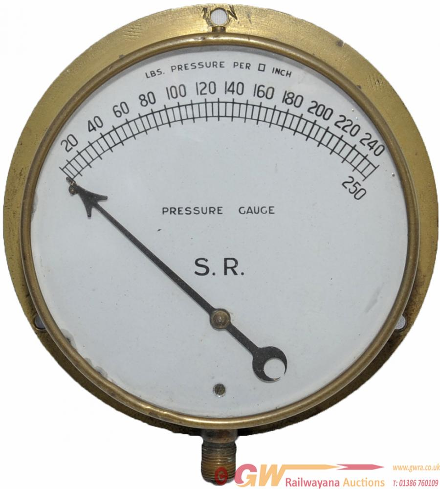 SR Locomotive Pressure Gauge With Brass Bezel And