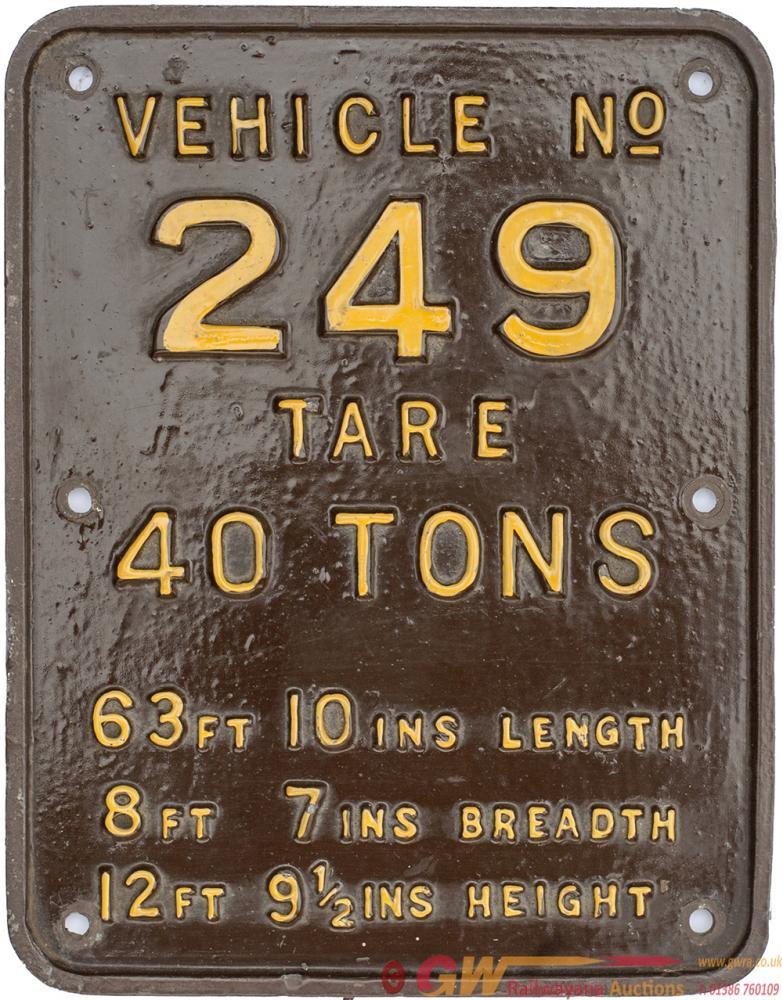 Pullman Cast Iron Car Tare Plate VEHICLE no249
