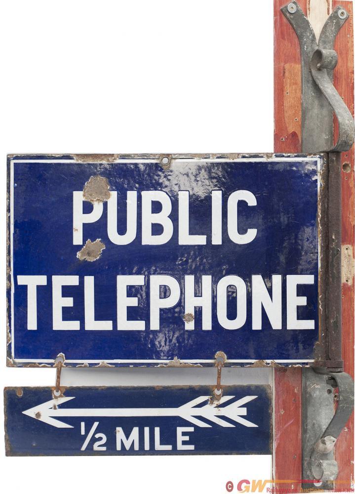 Advertising Enamel Sign PUBLIC TELEPHONE With