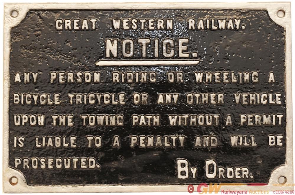 GWR C/I Sign 16in X 10in 'Notice Any Person Riding