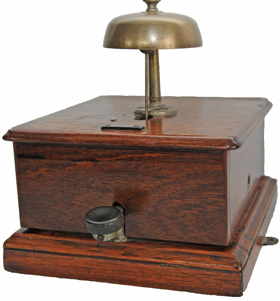 Midland Railway Mahogany Cased Block Bell With