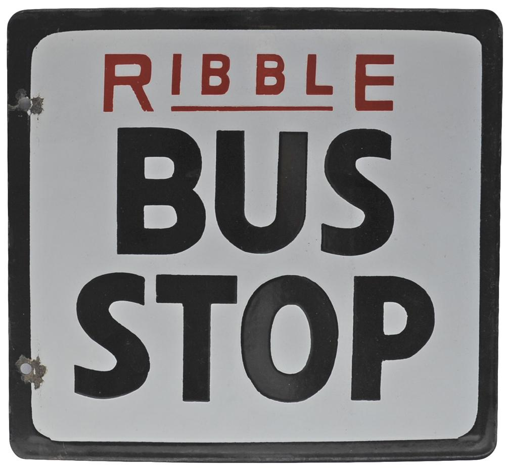 Enamel Bus Sign Ribble Bus Stop - Double Sided.