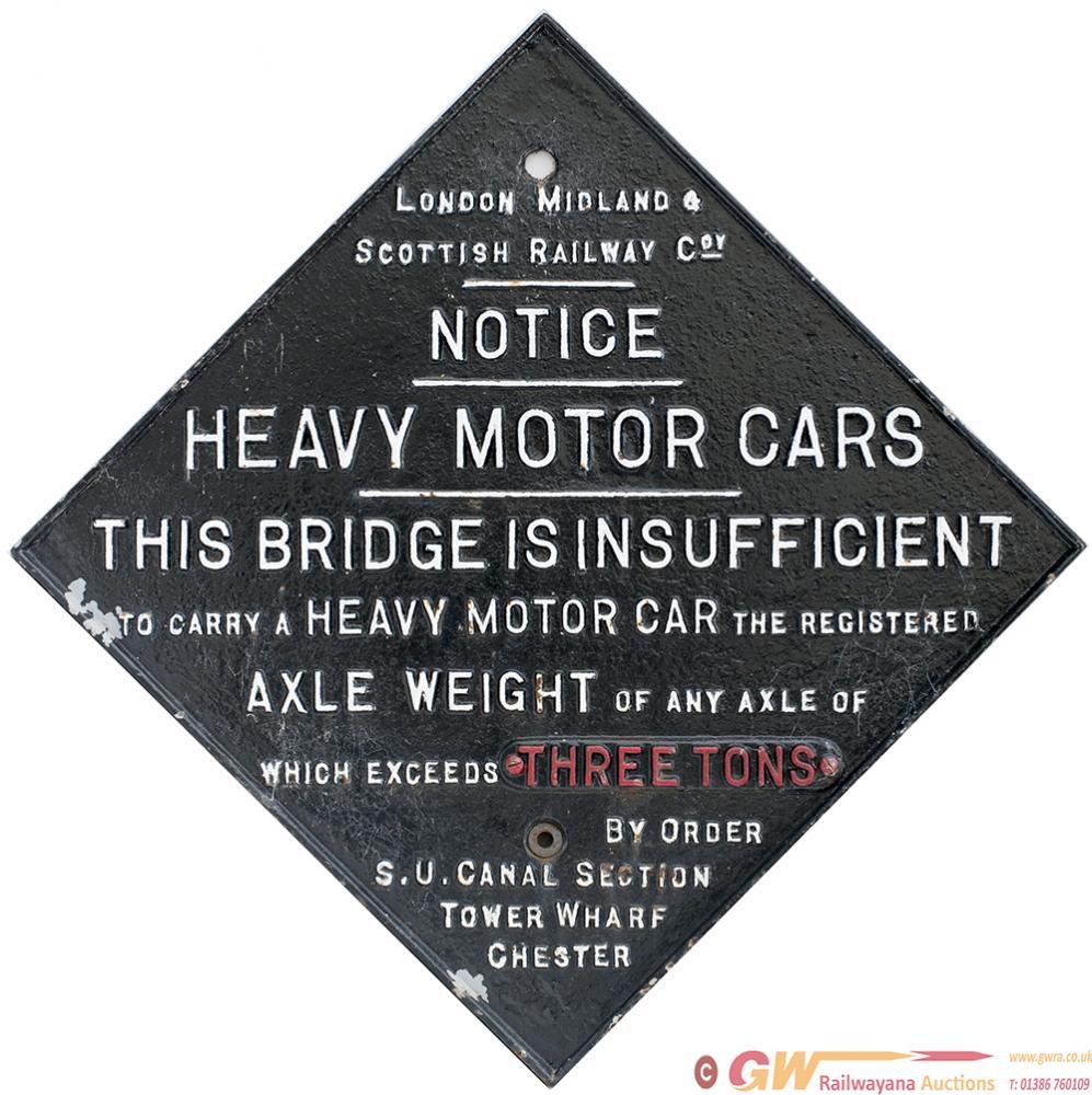 LMS Cast Iron BRIDGE RESTRICTION Sign Fully