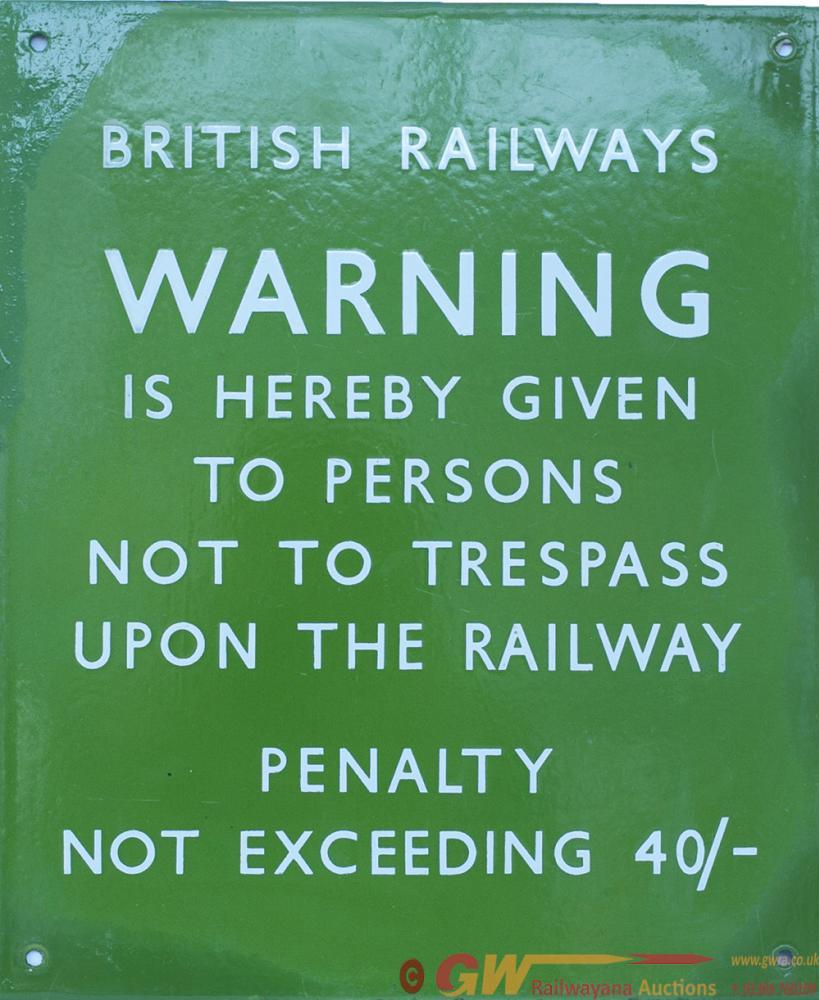 BR(S) Light Green Enamel BRITISH RAILWAYS WARNING