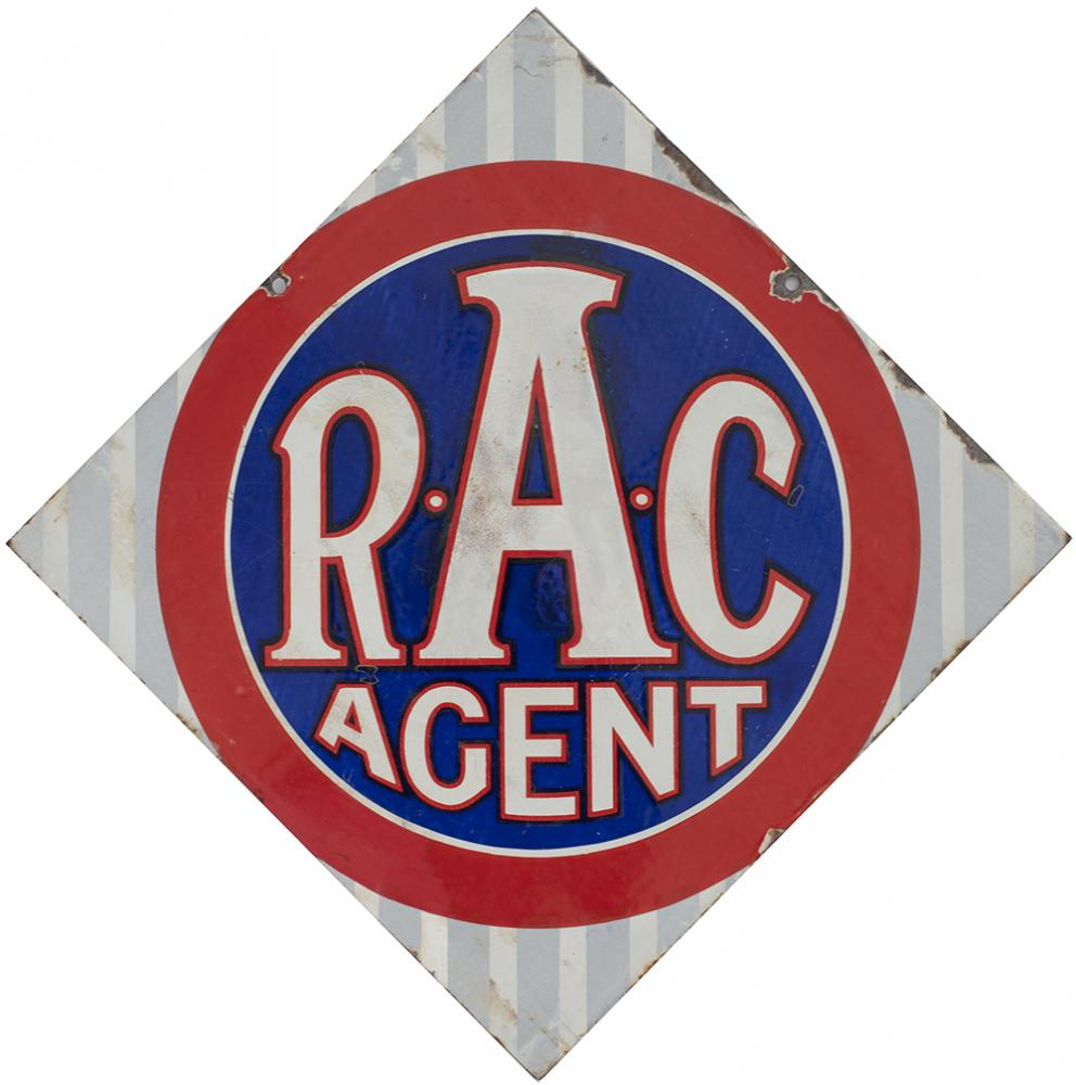 Road Motoring Enamel Sign RAC AGENT. Double Sided,