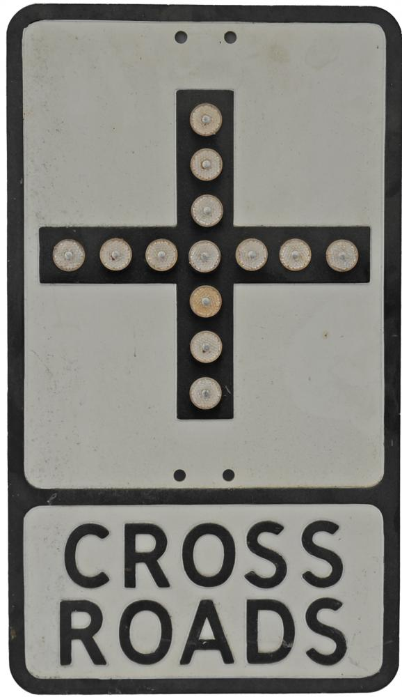 Pressed Alloy Road Sign 'Cross Roads', With All