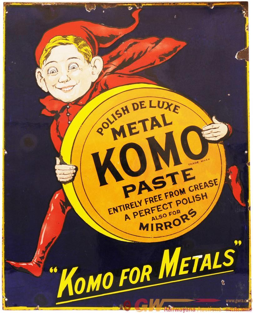 Advertising Enamel Pictorial KOMO METAL PASTE  In