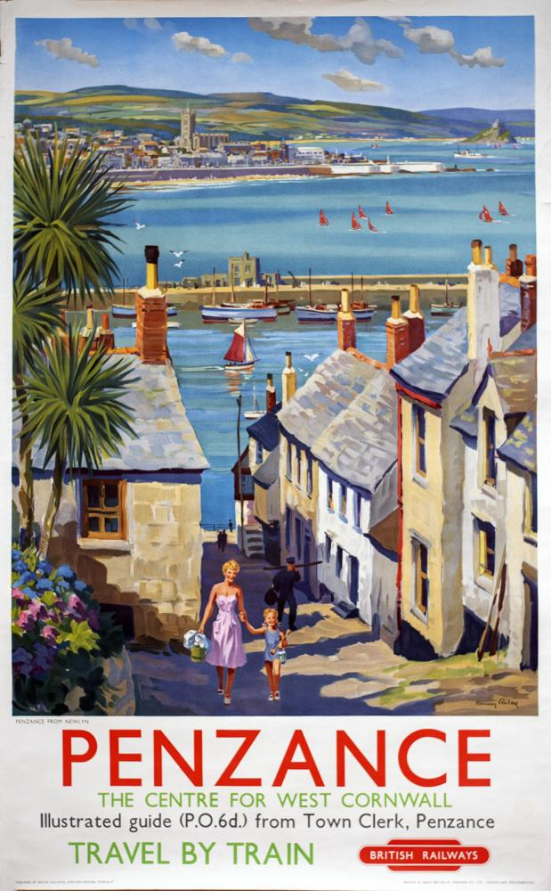 Poster BR(W) PENZANCE FROM NEWLYN By Harry Riley.