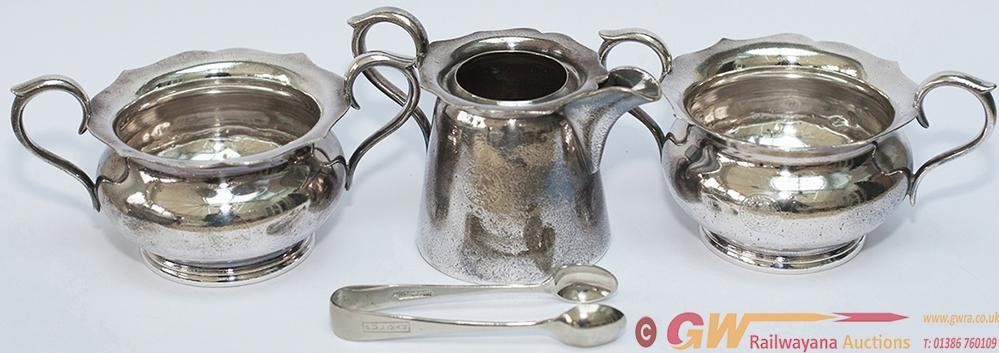 Pullman Silver Plate Sugar Bowls x2, Milk Jug And