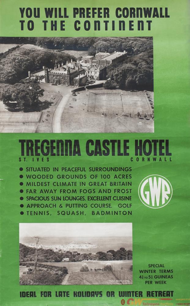 Poster GWR TREGENNA CASTLE HOTEL CORNWALL.